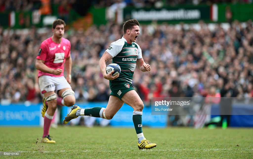 Tigers player Freddie Burns races away to score the third try during the European Rugby Champions Cup Quarter Final match between Leicester Tigers and Stade Francais Paris at Welford Road on April 10, 2016 in Leicester, England.