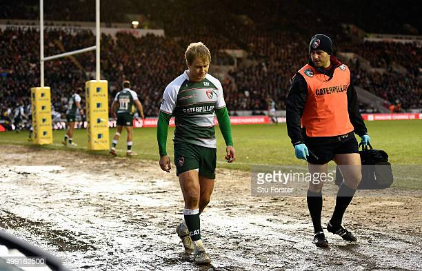 Tigers player Matthew Tait leaves the field with an injury in the first minute during the Aviva Premiership match between Leicester Tigers and Bath...