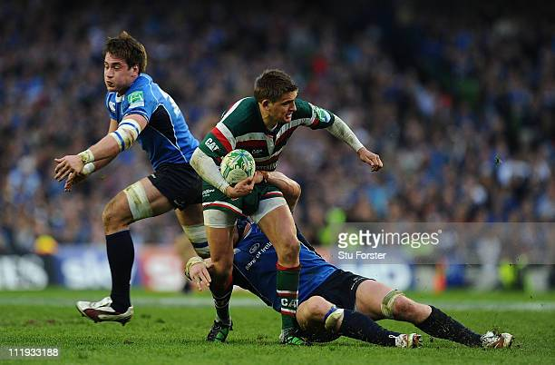 Tigers player Toby Flood is tackled by Leinster player Sean O' Brien during the Heineken Cup Quarter Final match between Leinster and Leicester...