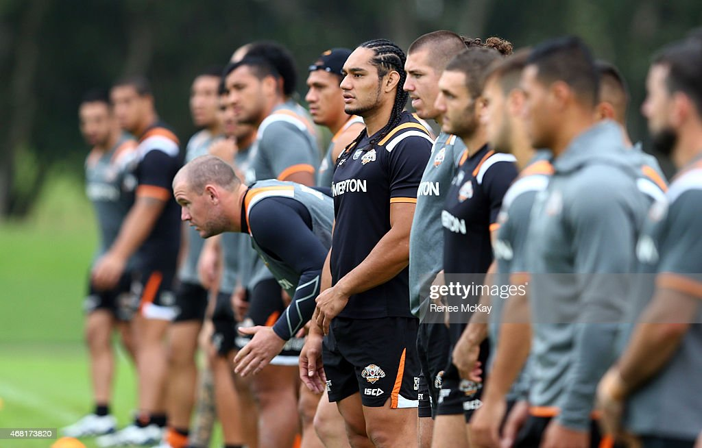 Tigers players arrive for a Wests Tigers NRL training session at Leichhardt Oval on March 31, 2015 in Sydney, Australia.