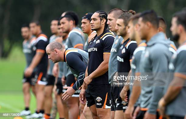 Tigers players arrive for a Wests Tigers NRL training session at Leichhardt Oval on March 31 2015 in Sydney Australia