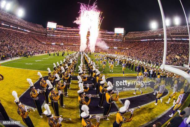 Tigers players enter the stadium before a game between the Texas AM Aggies and the LSU Tigers on November 25 2017 at Tiger Stadium in Baton Rouge...