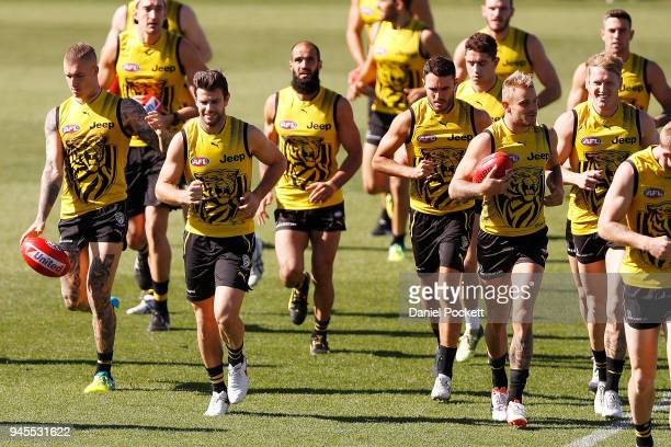 Tigers players in action during the Richmond Tigers AFL training session at Punt Road Oval on April 13 2018 in Melbourne Australia