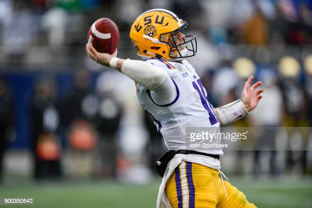 Tigers quarterback Danny Etling throws a pass during the second half of the Citrus Bowl game between the Notre Dame Fighting Irish and the LSU Tigers...