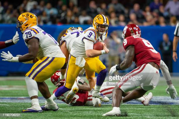 Tigers quarterback Joe Burrow during the College Football Playoffs Semifinal ChickfilA Peach Bowl between the LSU Tigers and the Oklahoma Sooners on...