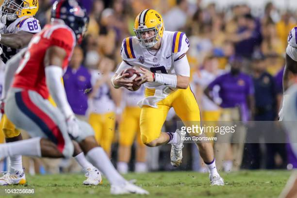 Tigers quarterback Joe Burrow scrambles against Mississippi Rebels on September 29 2018 at Tiger Stadium in Baton Rouge LA