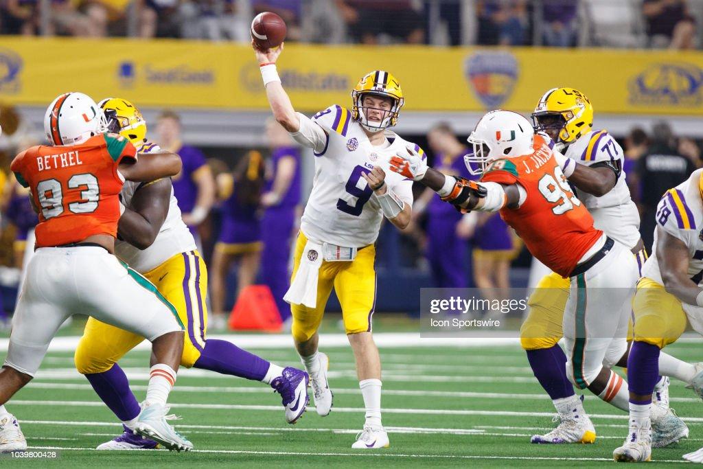 LSU Tigers quarterback Joe Burrow throws a pass as Miami