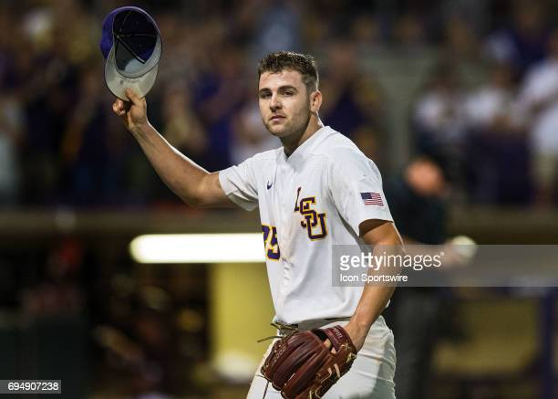 Tigers right handed pitcher Alex Lange exits the game in the eighth inning of a NCAA Super Regional game between the Mississippi State Bulldogs and...