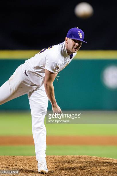 Tigers right handed pitcher Alex Lange throws a pitch during a baseball game between the Georgia Bulldogs and LSU Tigers on March 17 2017 at Alex Box...
