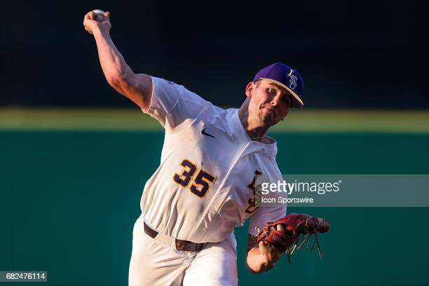 Tigers right handed pitcher Alex Lange throws a pitch during a baseball game between the Auburn Tigers and the LSU Tigers on May 12 2017 at Alex Box...