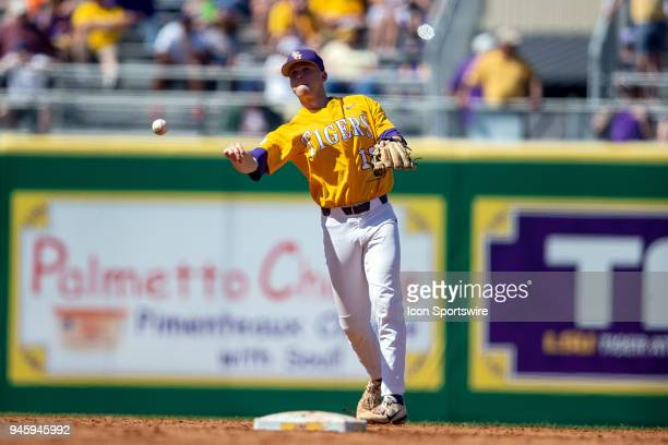 Tigers right handed pitcher Austin Bain makes an out during a baseball game between the Mississippi State Bulldogs and the LSU Tigers on March 31...