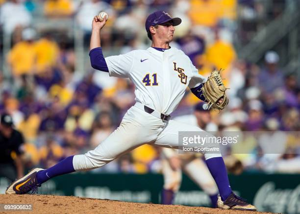 Tigers right handed pitcher Caleb Gilbert throws a pitch during a NCAA Baton Rouge Regional game between the LSU Tigers and Texas Southern Tigers on...