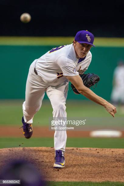 Tigers right handed pitcher Zack Hess throws a pitch during a game between the LSU Tigers and the Tennessee Volunteers at Alex Box Stadium in Baton...