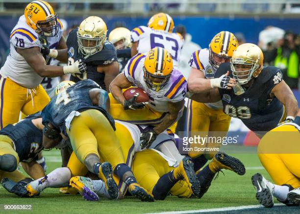 Tigers running back Derrius Guice drives towards the end zone during the Citrus Bowl between the Notre Dame Fighting Irish and LSU Tigers on January...