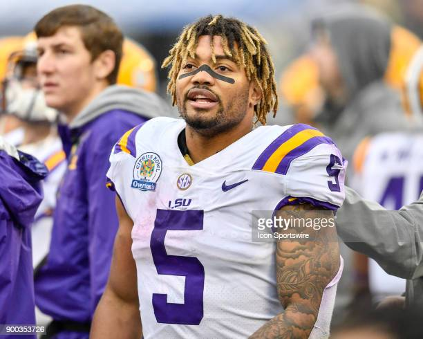 Tigers running back Derrius Guice during the second half of the Citrus Bowl game between the Notre Dame Fighting Irish and the LSU Tigers on January...