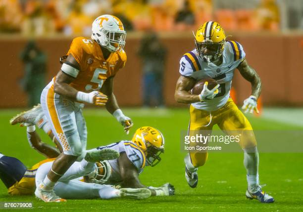 Tigers running back Derrius Guice runs round the end during a game between the LSU Tigers and Tennessee Volunteers on November 18 at Neyland Stadium...