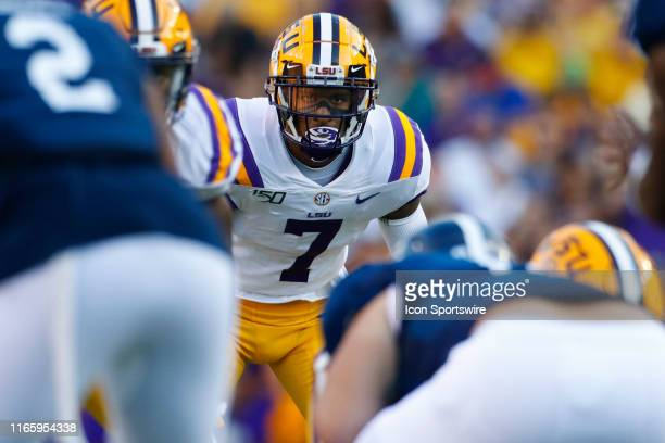 Tigers safety Grant Delpit looks into the offensive backfield during the game between the LSU Tigers and Georgia Southern Eagles at LSU Tiger Stadium...