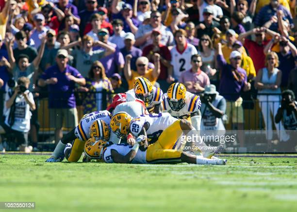 Tigers safety Grant Delpit stops a fake field goal attempt during a game between the LSU Tigers and the Georgia Bulldogs on October 13 at Tiger...
