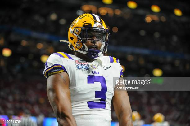 Tigers safety JaCoby Stevens during the College Football Playoffs Semifinal ChickfilA Peach Bowl between the LSU Tigers and the Oklahoma Sooners on...
