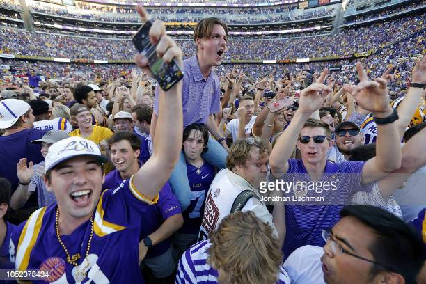 Tigers students celebrate on the field after a game against the Georgia Bulldogs at Tiger Stadium on October 13 2018 in Baton Rouge Louisiana LSU...