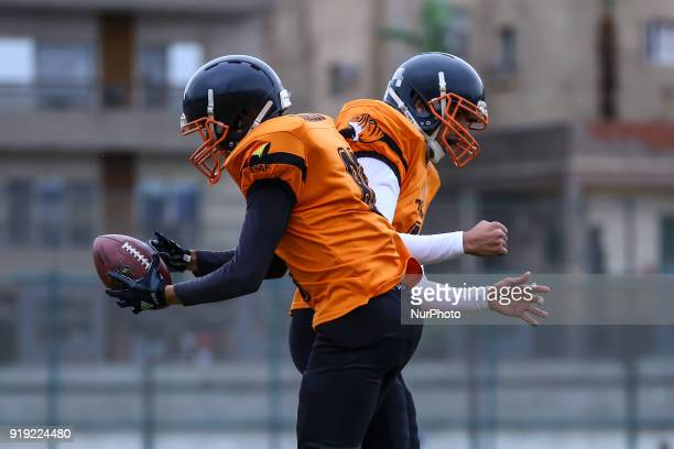 Tigers V Warriros Ninja and Orabi of the Tigers celebrates after scoring a touchdown to defeat the Warriors in the Egyptian league of American...