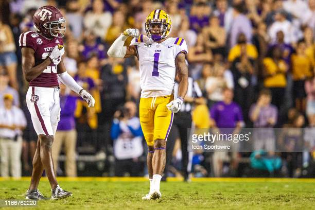 Tigers wide receiver Ja'Marr Chase catches a pass during a game between the LSU Tigers and the Texas AM Aggies on November 30 at Tiger Stadium in...