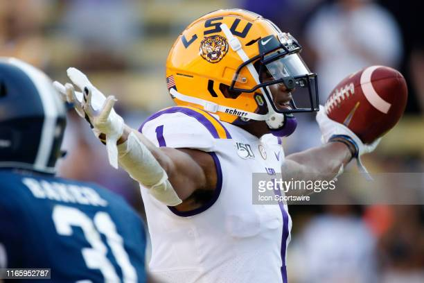 Tigers wide receiver Ja'Marr Chase reacts after a touchdown reception during the game between the LSU Tigers and Georgia Southern Eagles at LSU Tiger...