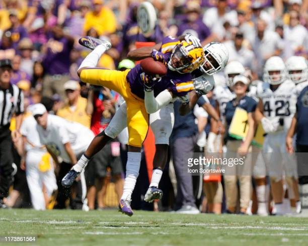 Tigers wide receiver Justin Jefferson catches a pass against Utah State Aggies on October 5 2019 at the Tiger Stadium in Baton Rouge LA