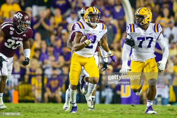 Tigers wide receiver Justin Jefferson catches a pass during a game between the LSU Tigers and the Texas AM Aggies on November 30 at Tiger Stadium in...