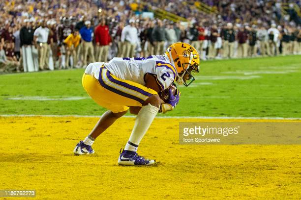 Tigers wide receiver Justin Jefferson catches a pass for a touchdown during a game between the LSU Tigers and the Texas AM Aggies on November 30 at...