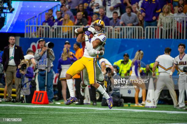 Tigers wide receiver Justin Jefferson catches a touchdown pass in the second quarter of the College Football Playoffs Semifinal ChickfilA Peach Bowl...