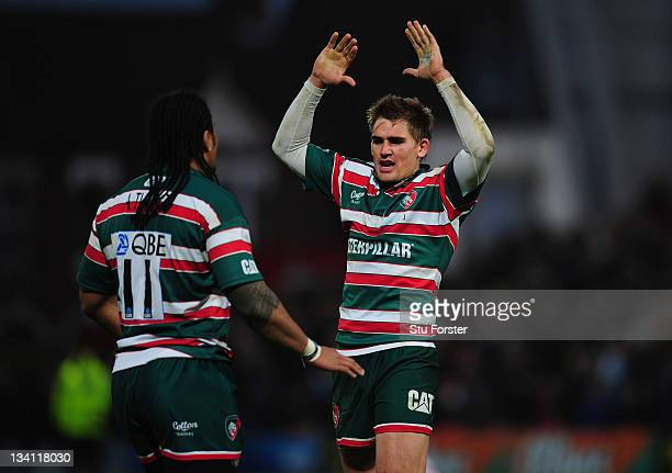 Tigers wing Alesana Tuilagi and Toby Flood celebrate on the final whistle during the Aviva Premiership match between Gloucester and Leicester Tigers...
