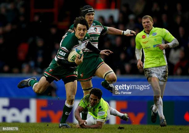 Tigers winger Matt Smith races through the Treviso defence during the Heineken Cup round five match between Leicester Tigers and Benetton Treviso at...