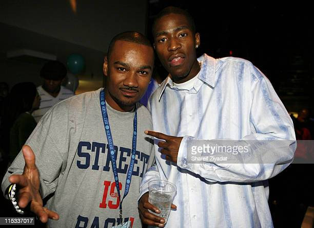 Tigga and Jamal Crawford of NY Knicks during Hpnotiq Christmas Party December 19 2005 at Chelsea Piers in New York United States