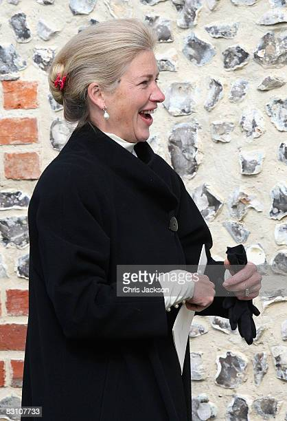 Tiggy LeggBourke attends a thanksgiving service for Gerald Ward godfather of Prince Harry at St Mary's Church Chiltern Foliat on October 3 2008 near...