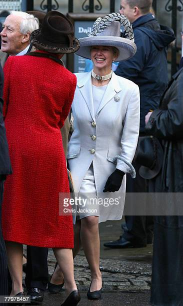 Tiggy LeggeBourke greets Queen AnneMarie of Greece as they leave Westminster Abbey after HRH Queen Elizabeth II and Prince Phillip The Duke of...
