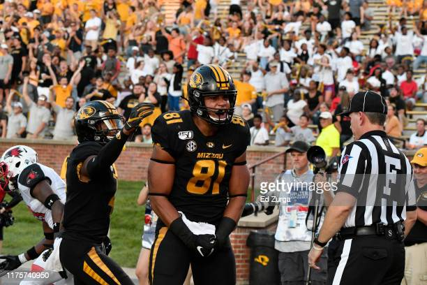 Tight end Albert Okwuegbunam of the Missouri Tigers celebrates a touchdown pass against the Southeast Missouri State Redhawks at Memorial Stadium on...