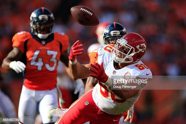 Tight end Anthony Fasano of the Kansas City Chiefs makes a catch against the Denver Broncos during the fourth quarter of a game at Sports Authority...