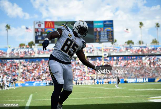 Tight end Antonio Gates of the Los Angeles Chargers scores a touchdown at StubHub Center on September 30 2018 in Carson California