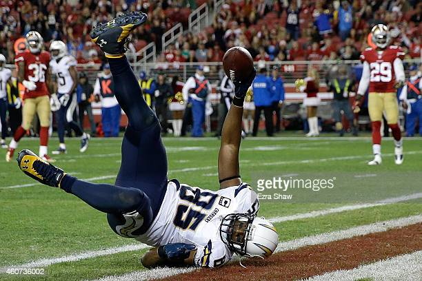 Tight end Antonio Gates of the San Diego Chargers catches a 21yard touchdown in the fourth quarter against the San Francisco 49ers at Levi's Stadium...