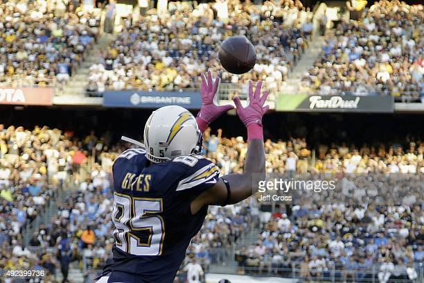 Tight end Antonio Gates of the San Diego Chargers catches a touchdown pass against the Pittsburgh Steelers at Qualcomm Stadium on October 12 2015 in...
