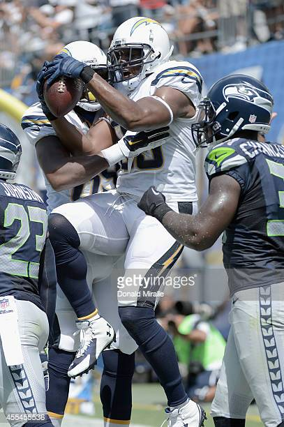 Tight end Antonio Gates of the San Diego Chargers celebrates after catching a touchdown pass against the Seattle Seahawks at Qualcomm Stadium on...