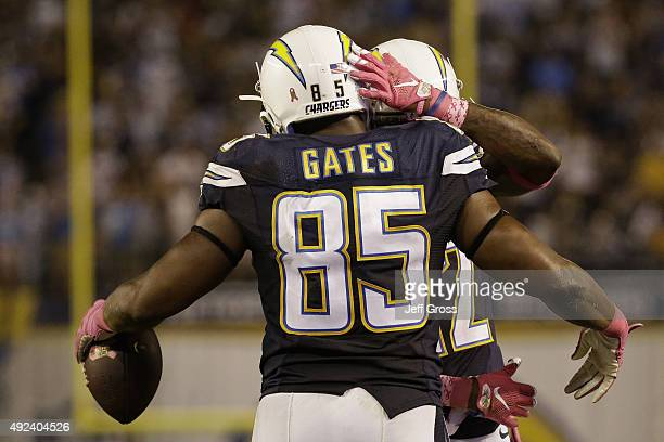 Tight end Antonio Gates of the San Diego Chargers celebrates after a touchdown reception against the Pittsburgh Steelers at Qualcomm Stadium on...