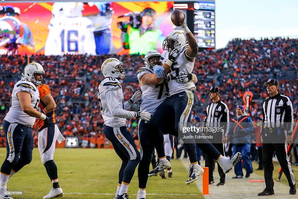 Tight end Antonio Gates #85 of the San Diego Chargers celebrates after scoring a touchdown on a 13-yard reception in the third quarter of a game against the Denver Broncos at Sports Authority Field at Mile High on January 3, 2016 in Denver, Colorado.