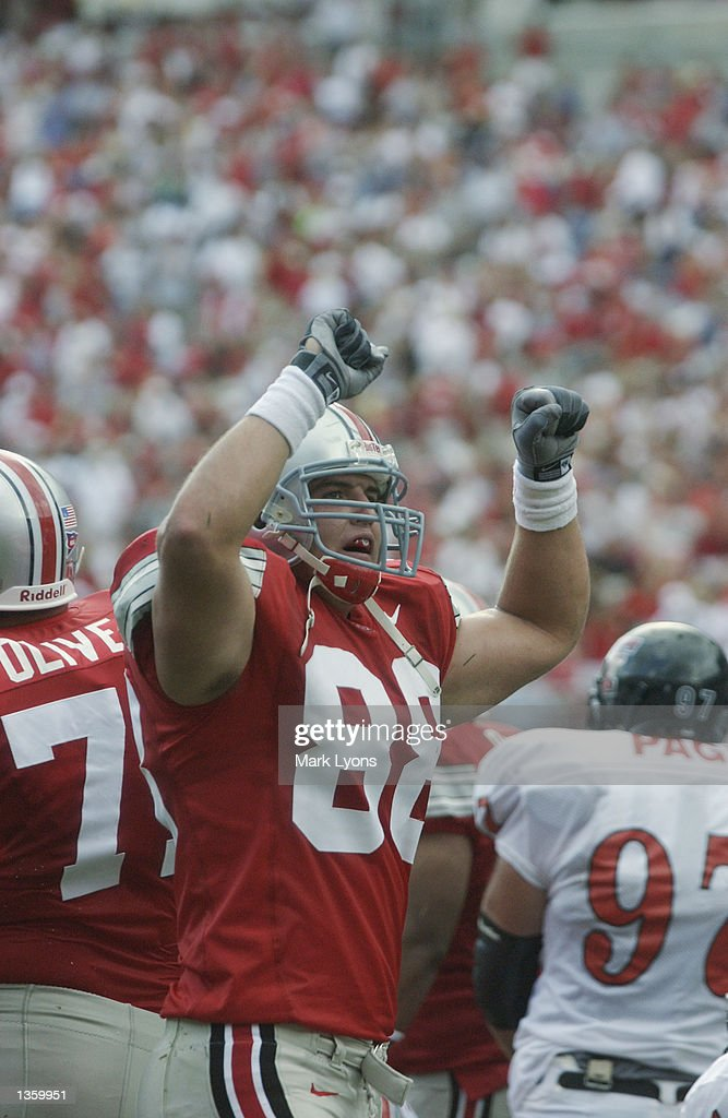 Tight end Ben Hartsock #88 of the Ohio State Buckeyes holds up his fists during the NCAA Pigskin Classic against the Texas Tech Red Raiders on August 24, 2002 at Ohio Stadium in Columbus, Ohio. Ohio State defeated Texas Tech 45-21.