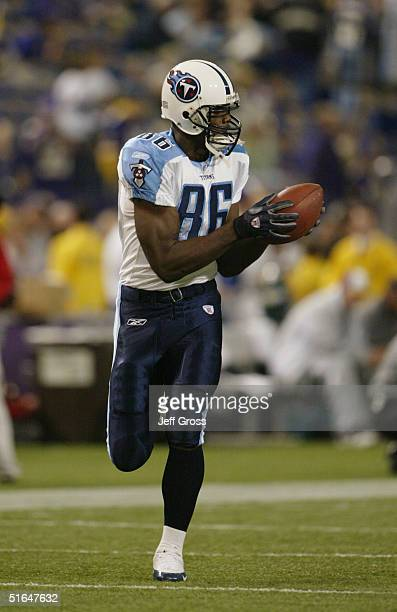 Tight end Ben Troupe of the Tennessee Titans makes a catch against the Minnesota Vikings during the game at the Hubert H Humphrey Metrodome on...