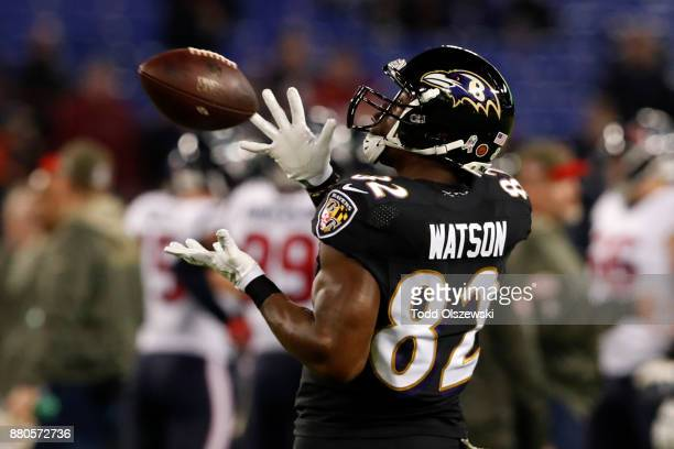 Tight End Benjamin Watson of the Baltimore Ravens catches the ball in warm ups prior to the game against the Houston Texans at MT Bank Stadium on...