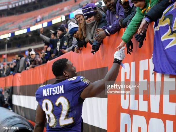 Tight end Benjamin Watson of the Baltimore Ravens high fives fans as he walks off the field after a game on December 17 2017 against the Cleveland...