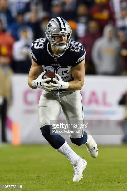 Tight end Blake Jarwin of the Dallas Cowboys in action in the second half against the Washington Redskins at FedExField on October 21 2018 in...