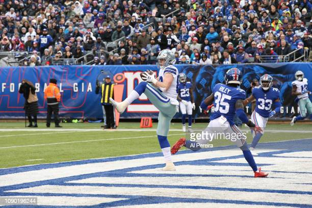 Tight End Blake Jarwin of the Dallas Cowboys scores his second career Touchdown and second of three on the day against the New York Giants at MetLife...